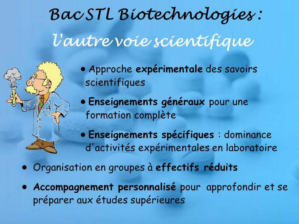 Bac STL Biotechnologies : l autre voie scientifique Approche expérimentale des savoirs scientifiques Enseignements généraux pour une formation complète Enseignements spécifiques : dominance d activités expérimentales en laboratoire Organisation en groupes à effectifs réduits Accompagnement personnalisé pour approfondir et se préparer aux études supérieures