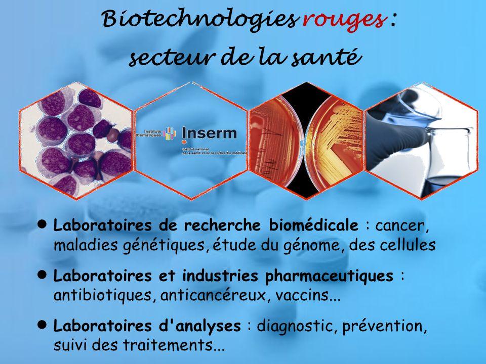Biotechnologies rouges : secteur de la santé Laboratoires de recherche biomédicale : cancer, maladies génétiques, étude du génome, des cellules Laboratoires et industries pharmaceutiques : antibiotiques, anticancéreux, vaccins...