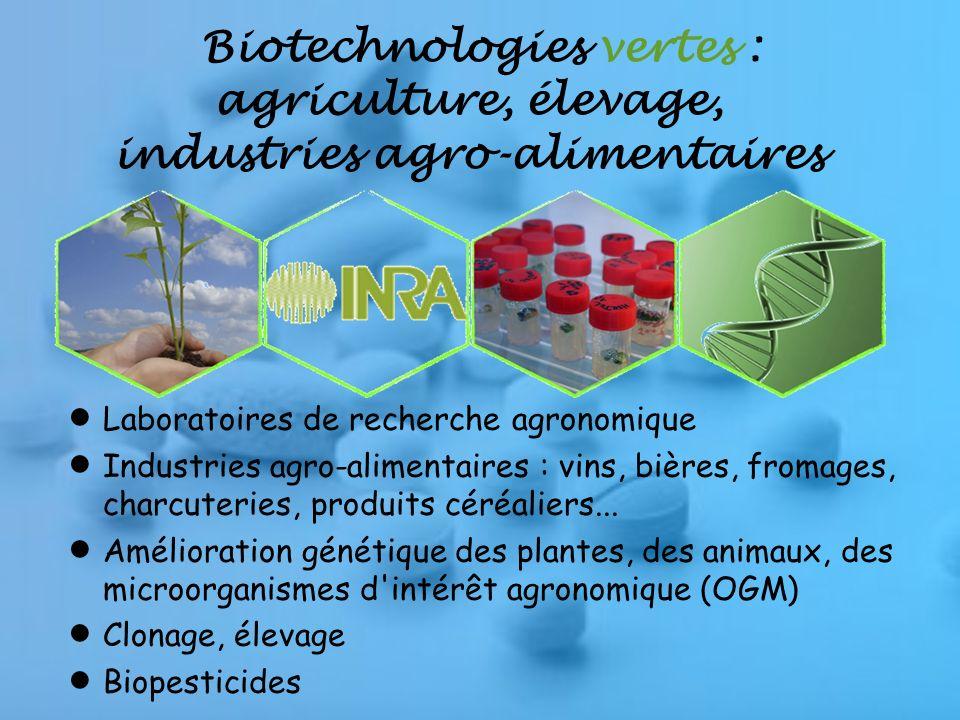 Biotechnologies vertes : agriculture, élevage, industries agro-alimentaires Laboratoires de recherche agronomique Industries agro-alimentaires : vins, bières, fromages, charcuteries, produits céréaliers...