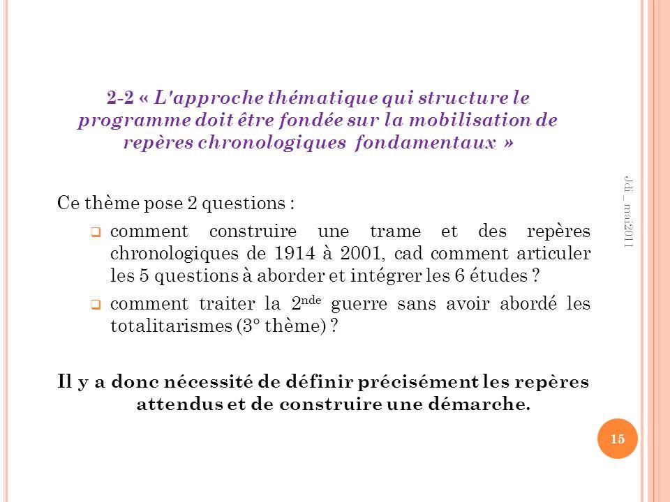 2-2 « L'approche thématique qui structure le programme doit être fondée sur la mobilisation de repères chronologiques fondamentaux » 15 Jdi _ mai2011
