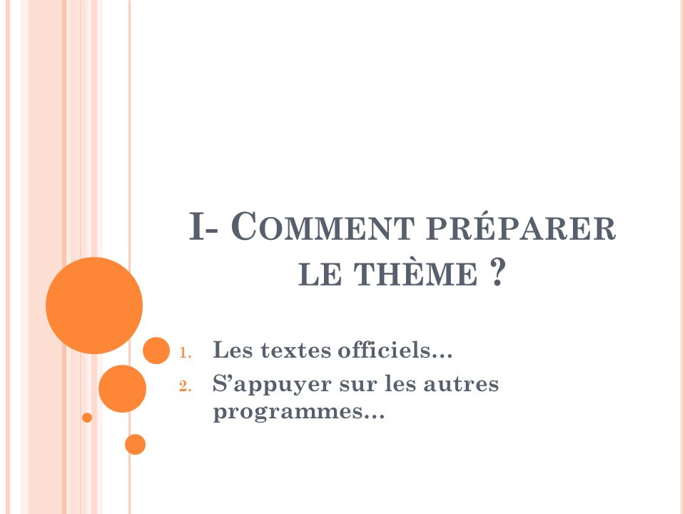 I- C OMMENT PRÉPARER LE THÈME ? 1. Les textes officiels… 2. Sappuyer sur les autres programmes…