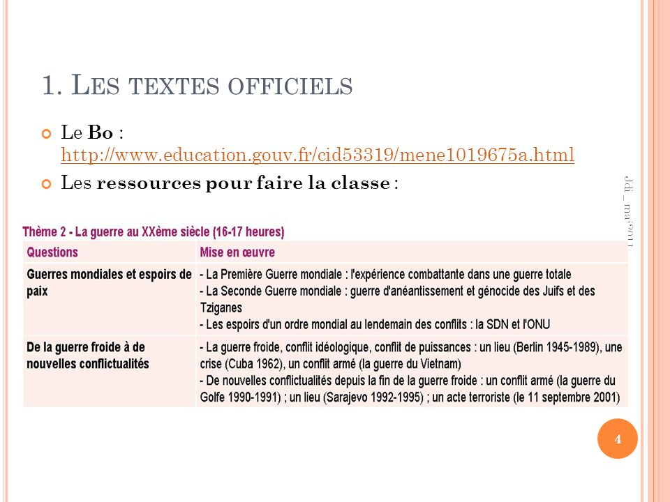 1. L ES TEXTES OFFICIELS Le Bo : http://www.education.gouv.fr/cid53319/mene1019675a.html http://www.education.gouv.fr/cid53319/mene1019675a.html Les r