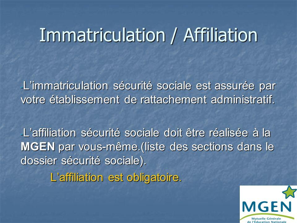 DEMARCHES SECURITE SOCIALE Immatriculation Immatriculation La demande est assurée par votre établissement de rattachement administratif Pour les assis