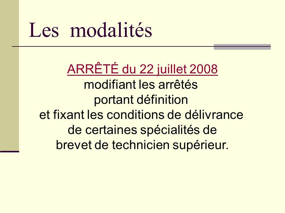 Les modalités ARRÊTÉ du 22 juillet 2008 modifiant les arrêtés portant définition et fixant les conditions de délivrance de certaines spécialités de br