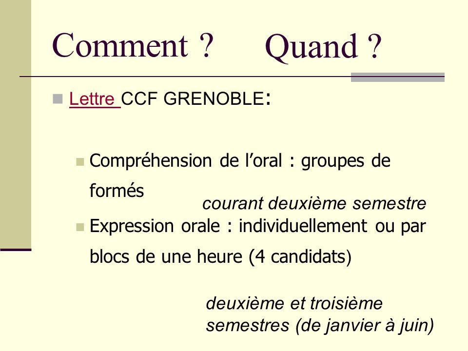 Comment ? Lettre CCF GRENOBLE : Lettre Compréhension de loral : groupes de formés Expression orale : individuellement ou par blocs de une heure (4 can