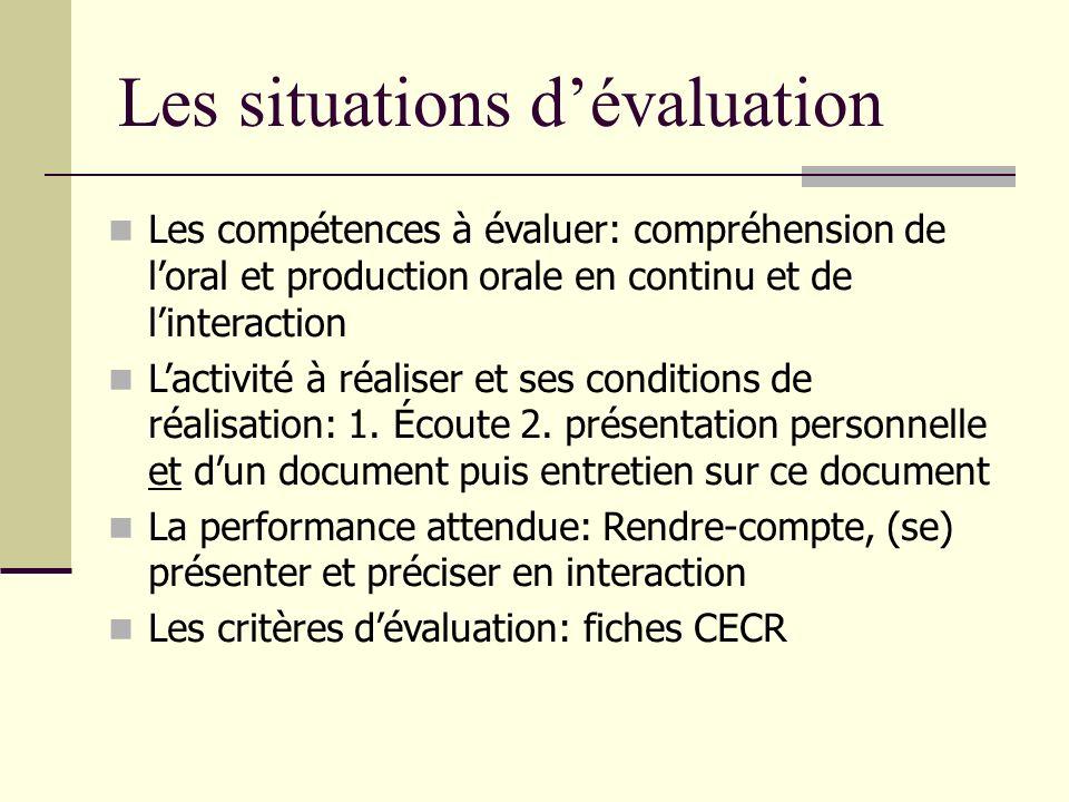 Les situations dévaluation Les compétences à évaluer: compréhension de loral et production orale en continu et de linteraction Lactivité à réaliser et