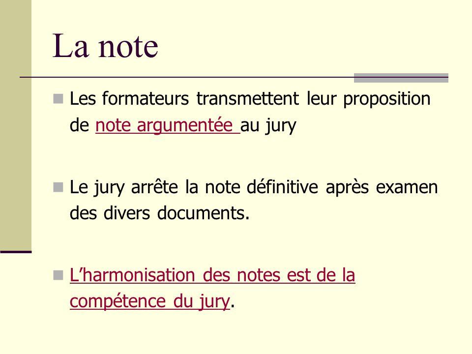La note Les formateurs transmettent leur proposition de note argumentée au jurynote argumentée Le jury arrête la note définitive après examen des dive