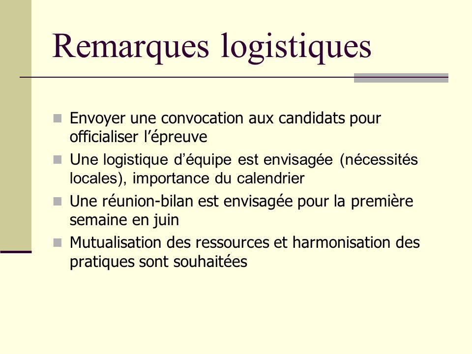 Remarques logistiques Envoyer une convocation aux candidats pour officialiser lépreuve Une logistique déquipe est envisagée (nécessités locales), impo