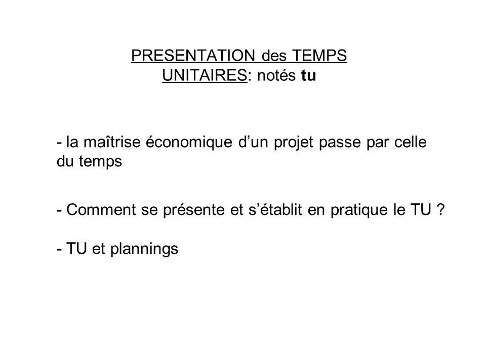 PRESENTATION des TEMPS UNITAIRES: notés tu - la maîtrise économique dun projet passe par celle du temps - Comment se présente et sétablit en pratique