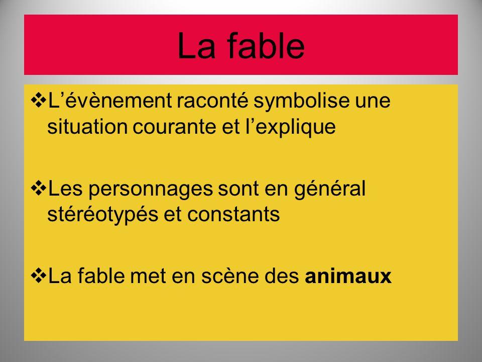 La fable Lévènement raconté symbolise une situation courante et lexplique Les personnages sont en général stéréotypés et constants La fable met en scè