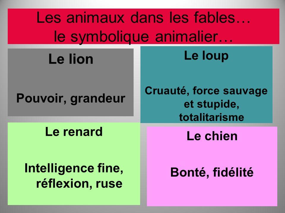 Les animaux dans les fables… le symbolique animalier… Le lion Pouvoir, grandeur Le loup Cruauté, force sauvage et stupide, totalitarisme Le renard Int