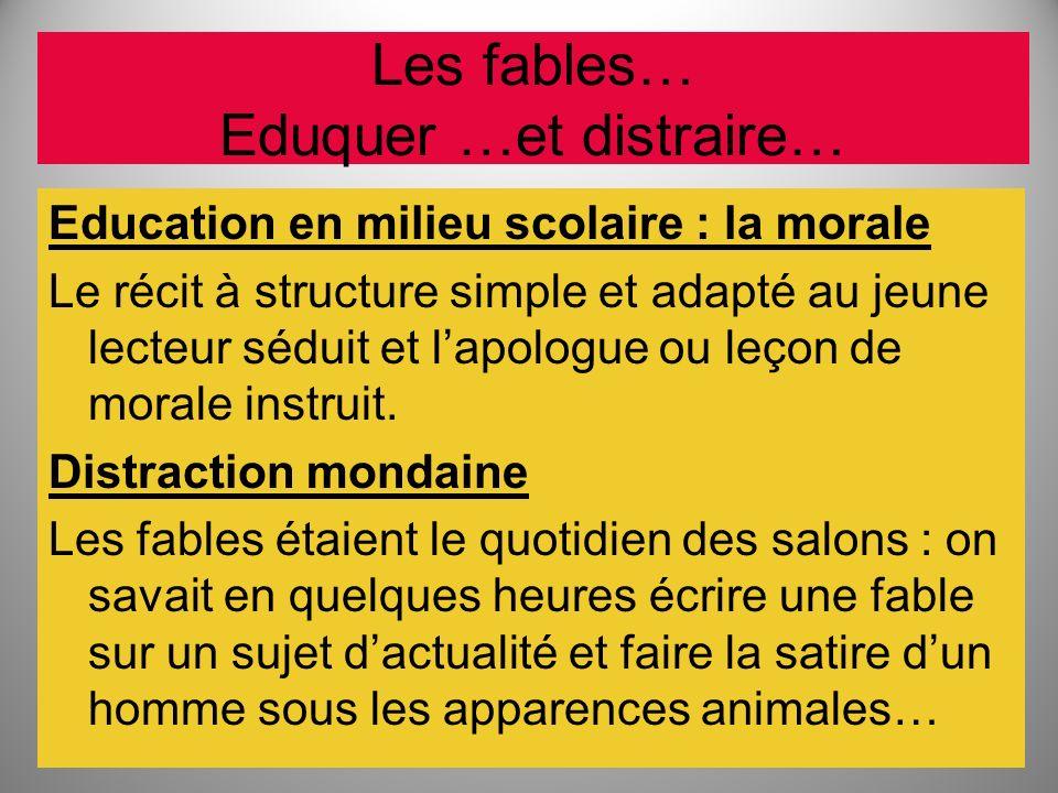 Les fables… Eduquer …et distraire… Education en milieu scolaire : la morale Le récit à structure simple et adapté au jeune lecteur séduit et lapologue