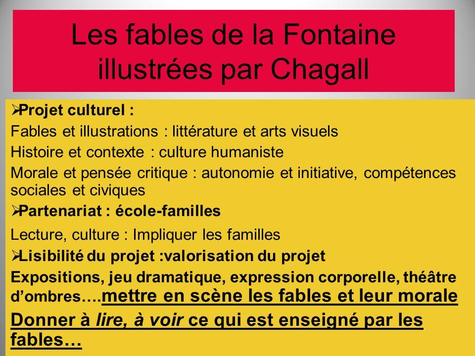 Les fables de la Fontaine illustrées par Chagall Projet culturel : Fables et illustrations : littérature et arts visuels Histoire et contexte : cultur