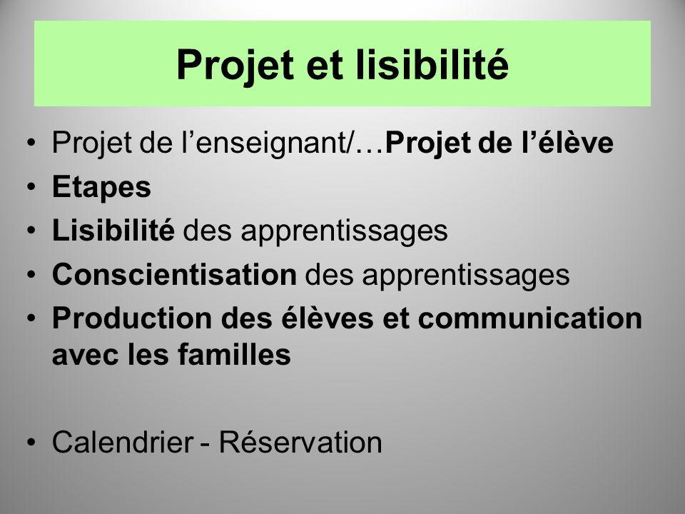 Projet et lisibilité Projet de lenseignant/…Projet de lélève Etapes Lisibilité des apprentissages Conscientisation des apprentissages Production des é
