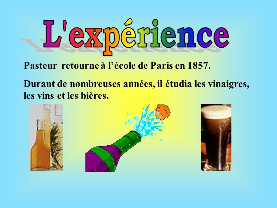 Pasteur retourne à lécole de Paris en 1857.