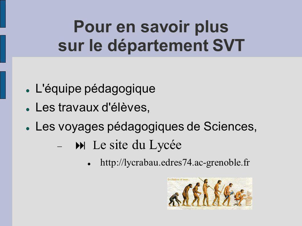 Pour en savoir plus sur le département SVT L'équipe pédagogique Les travaux d'élèves, Les voyages pédagogiques de Sciences, L e site du Lycée http://l