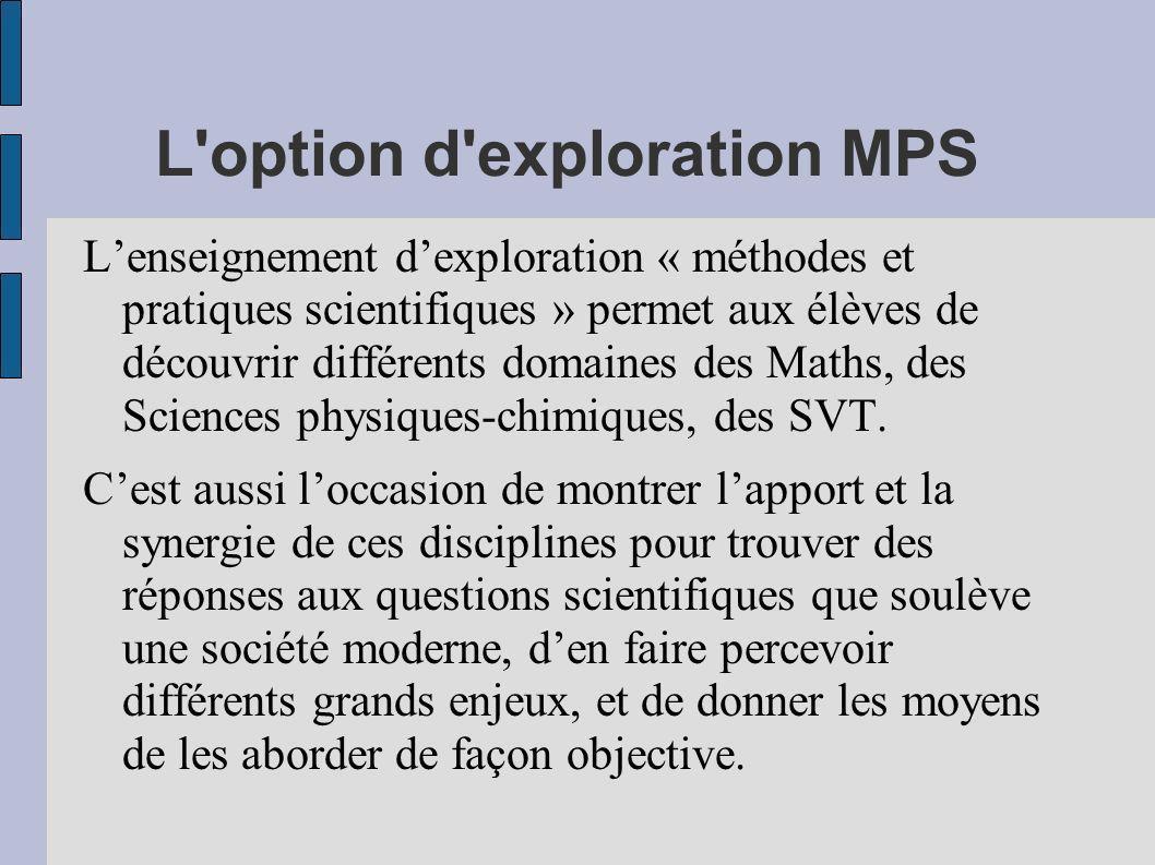 L'option d'exploration MPS Lenseignement dexploration « méthodes et pratiques scientifiques » permet aux élèves de découvrir différents domaines des M