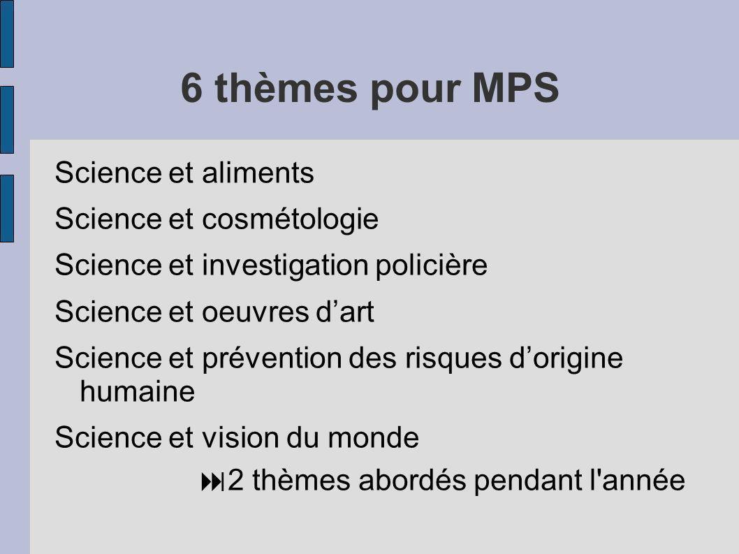 6 thèmes pour MPS Science et aliments Science et cosmétologie Science et investigation policière Science et oeuvres dart Science et prévention des ris