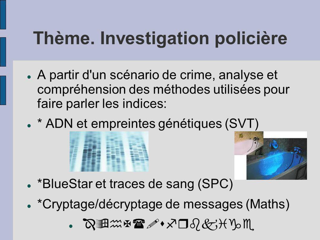 Thème. Investigation policière A partir d'un scénario de crime, analyse et compréhension des méthodes utilisées pour faire parler les indices: * ADN e