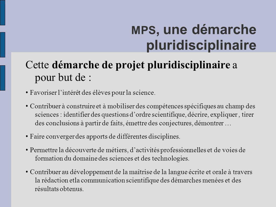 MPS, une démarche pluridisciplinaire Cette démarche de projet pluridisciplinaire a pour but de : Favoriser lintérêt des élèves pour la science. Contri