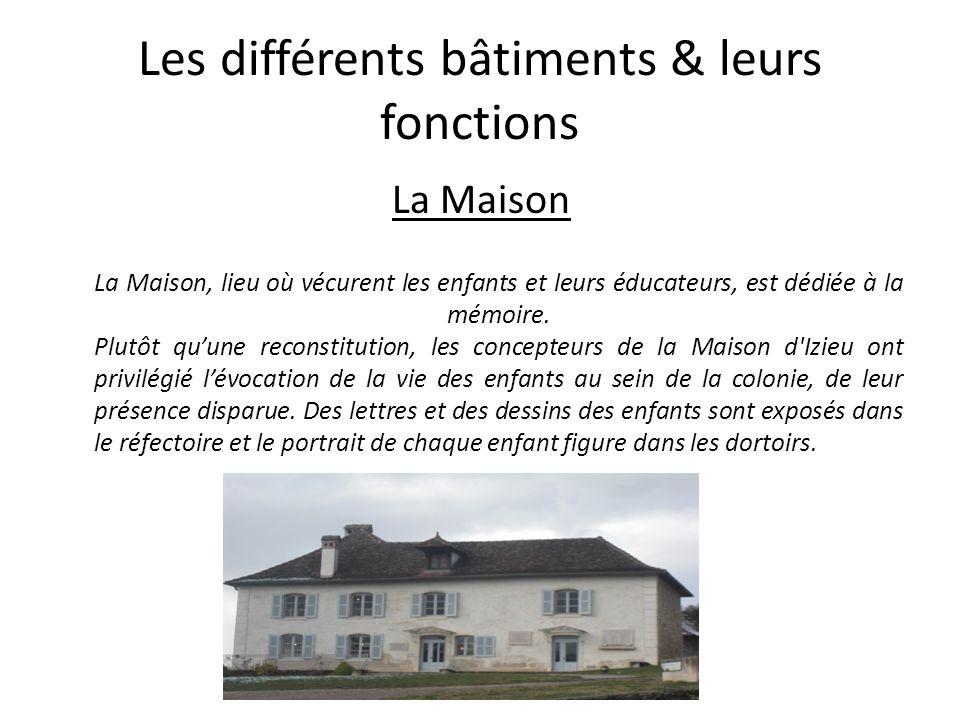 Les différents bâtiments & leurs fonctions La Maison La Maison, lieu où vécurent les enfants et leurs éducateurs, est dédiée à la mémoire. Plutôt quun