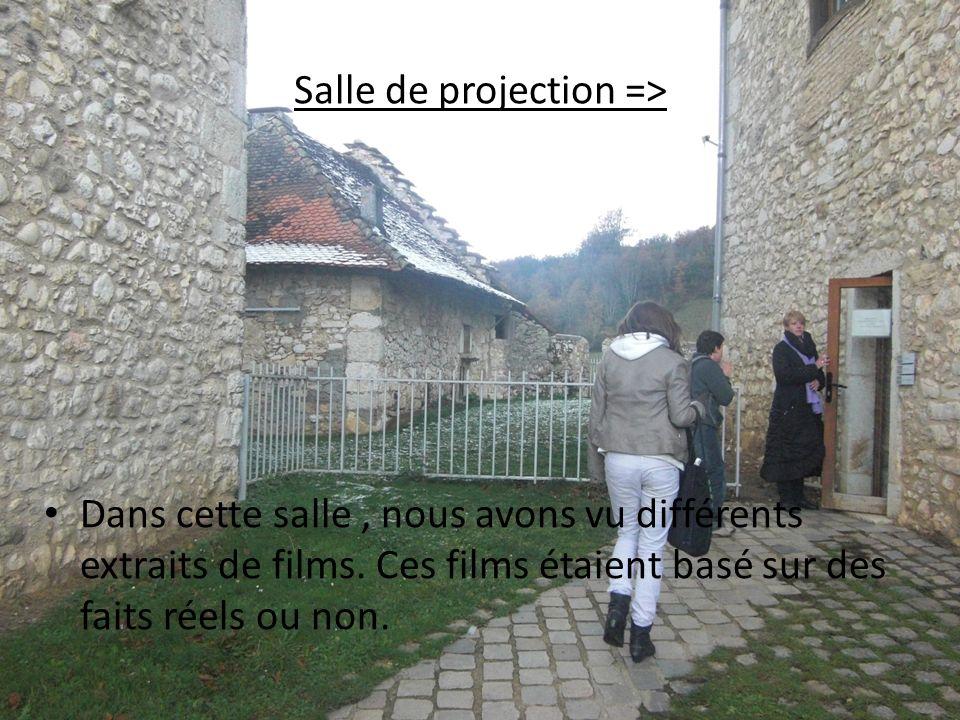 Salle de projection => Dans cette salle, nous avons vu différents extraits de films. Ces films étaient basé sur des faits réels ou non.