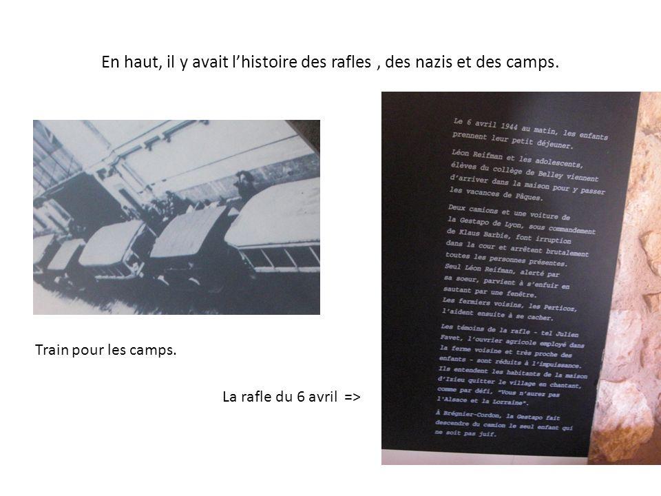En haut, il y avait lhistoire des rafles, des nazis et des camps. Train pour les camps. La rafle du 6 avril =>