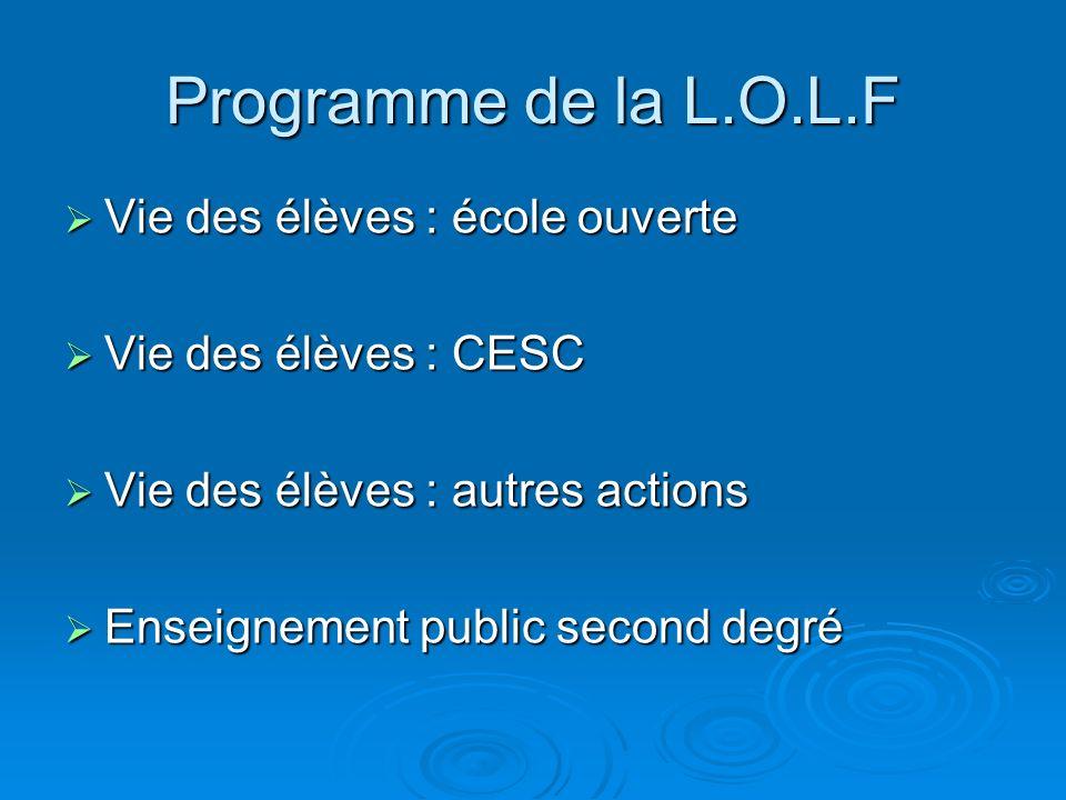 Programme de la L.O.L.F Vie des élèves : école ouverte Vie des élèves : école ouverte Vie des élèves : CESC Vie des élèves : CESC Vie des élèves : aut