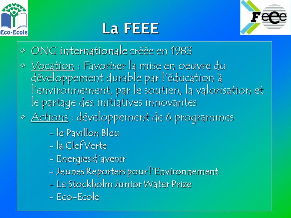 La FEEE La FEEE ONG internationale créée en 1983ONG internationale créée en 1983 Vocation : Favoriser la mise en oeuvre du développement durable par léducation à lenvironnement, par le soutien, la valorisation et le partage des initiatives innovantesVocation : Favoriser la mise en oeuvre du développement durable par léducation à lenvironnement, par le soutien, la valorisation et le partage des initiatives innovantes Actions : développement de 6 programmesActions : développement de 6 programmes -le Pavillon Bleu -la Clef Verte -Energies davenir -Jeunes Reporters pour lEnvironnement -Le Stockholm Junior Water Prize -Eco-Ecole
