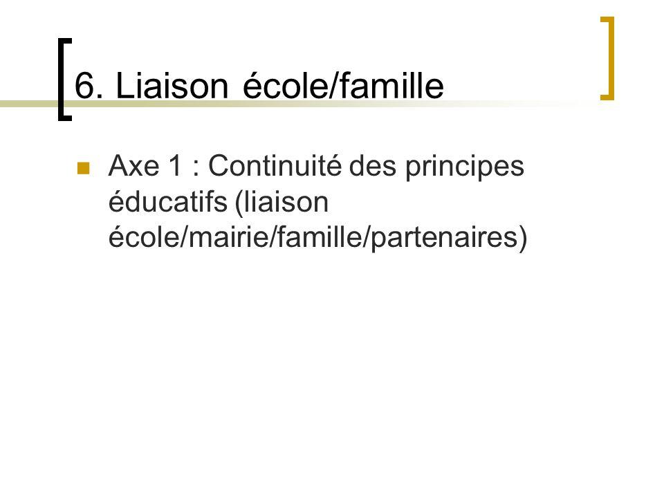 6. Liaison école/famille Axe 1 : Continuité des principes éducatifs (liaison école/mairie/famille/partenaires)