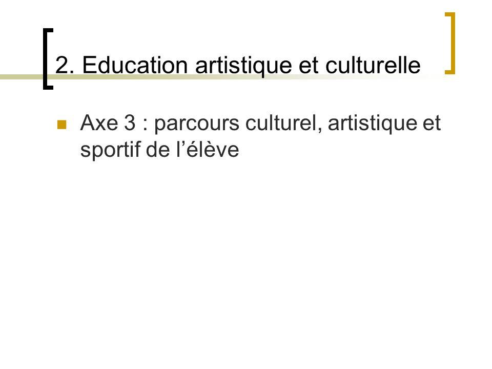 2. Education artistique et culturelle Axe 3 : parcours culturel, artistique et sportif de lélève