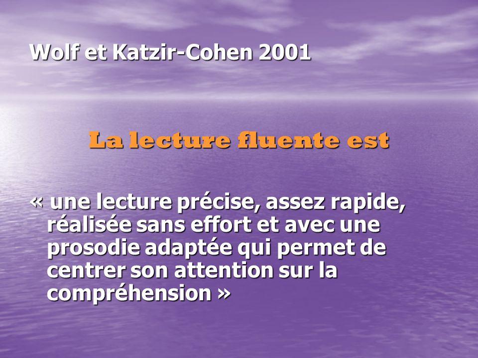 Wolf et Katzir-Cohen 2001 La lecture fluente est « une lecture précise, assez rapide, réalisée sans effort et avec une prosodie adaptée qui permet de