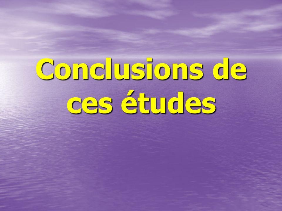 Conclusions de ces études