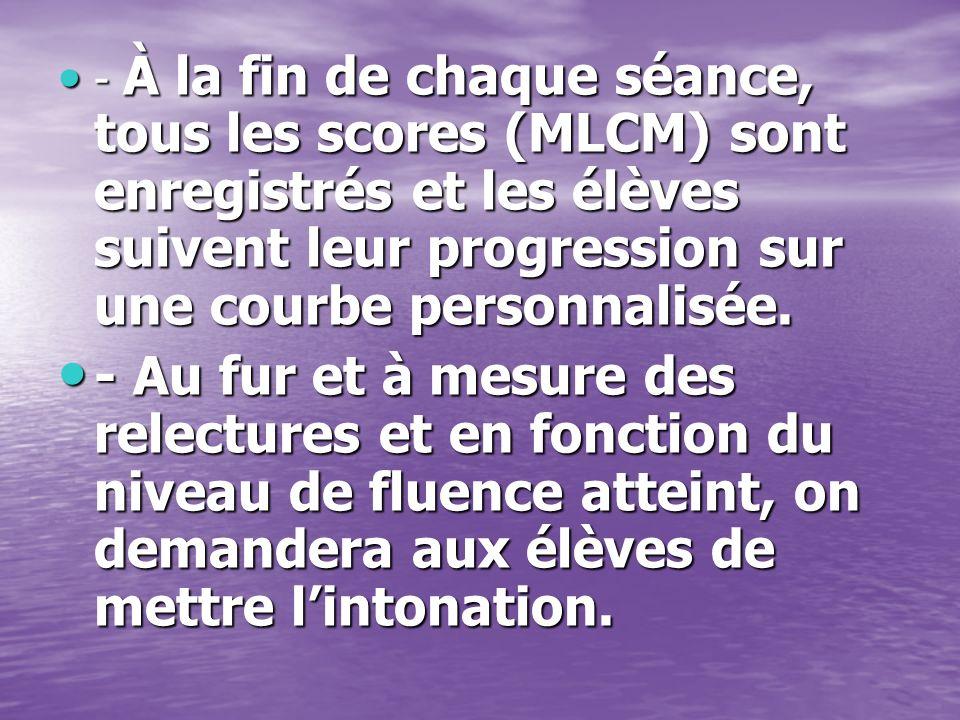 - À la fin de chaque séance, tous les scores (MLCM) sont enregistrés et les élèves suivent leur progression sur une courbe personnalisée. - À la fin d