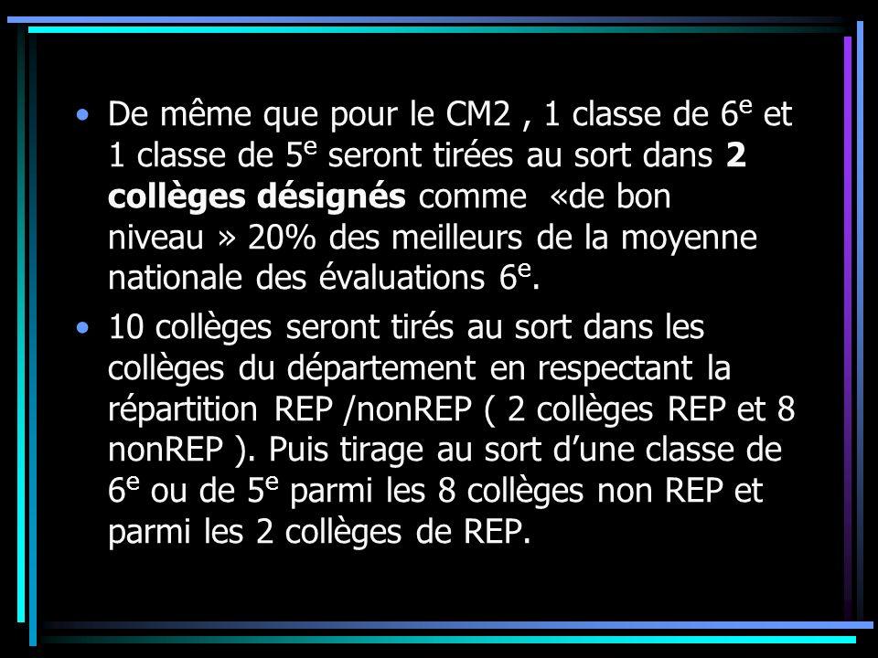 De même que pour le CM2, 1 classe de 6 e et 1 classe de 5 e seront tirées au sort dans 2 collèges désignés comme «de bon niveau » 20% des meilleurs de