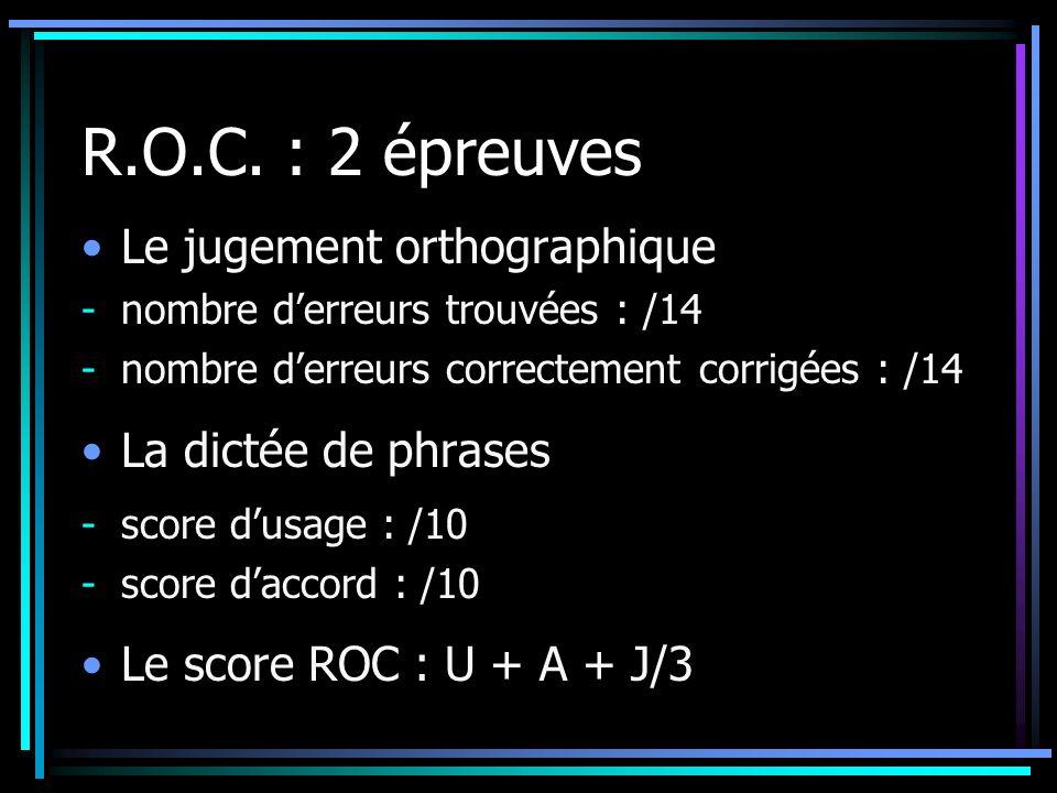 R.O.C. : 2 épreuves Le jugement orthographique -nombre derreurs trouvées : /14 -nombre derreurs correctement corrigées : /14 La dictée de phrases - sc