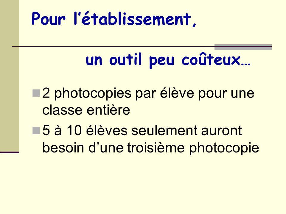 Pour létablissement, un outil peu coûteux… 2 photocopies par élève pour une classe entière 5 à 10 élèves seulement auront besoin dune troisième photoc