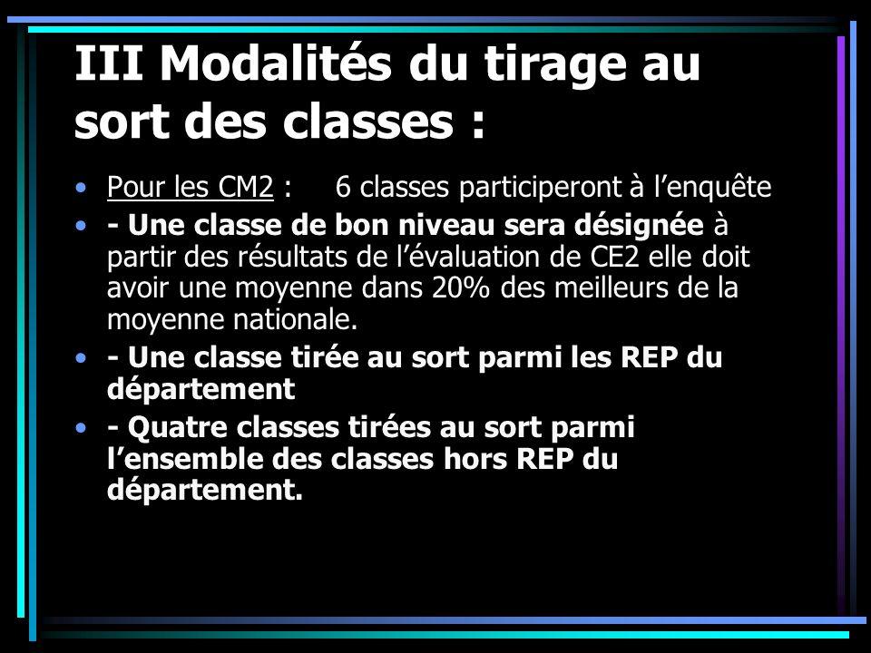 III Modalités du tirage au sort des classes : Pour les CM2 : 6 classes participeront à lenquête - Une classe de bon niveau sera désignée à partir des