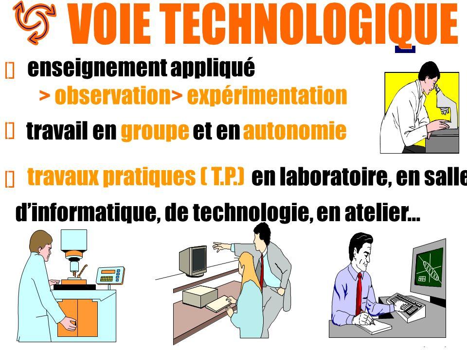 enseignement appliqué > observation > expérimentation travail engroupeet enautonomie travaux pratiques ( T.P.) en laboratoire, en salle dinformatique,
