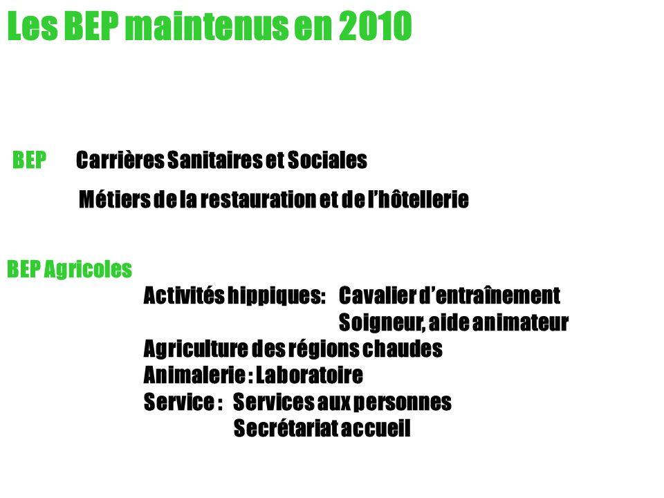 Les BEP maintenus en 2010 BEP Carrières Sanitaires et Sociales Métiers de la restauration et de lhôtellerie BEP Agricoles Activités hippiques: Cavalie