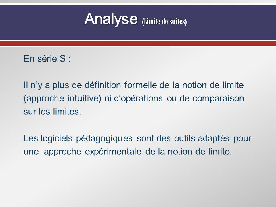 En série S : Il ny a plus de définition formelle de la notion de limite (approche intuitive) ni dopérations ou de comparaison sur les limites. Les log