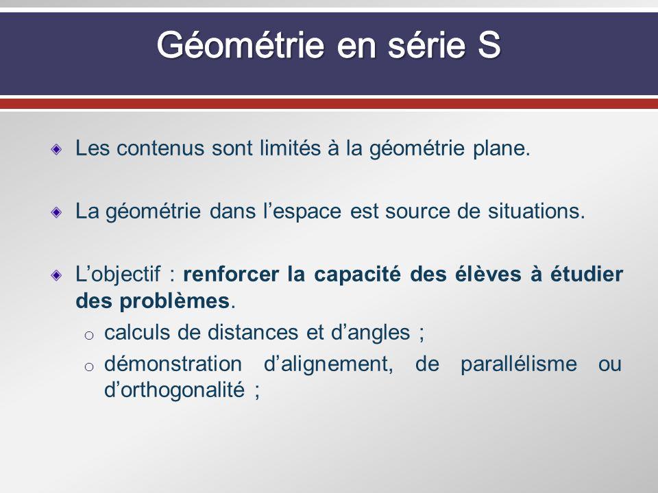 Les contenus sont limités à la géométrie plane. La géométrie dans lespace est source de situations. Lobjectif : renforcer la capacité des élèves à étu