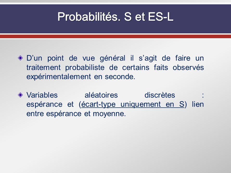 Dun point de vue général il sagit de faire un traitement probabiliste de certains faits observés expérimentalement en seconde. Variables aléatoires di