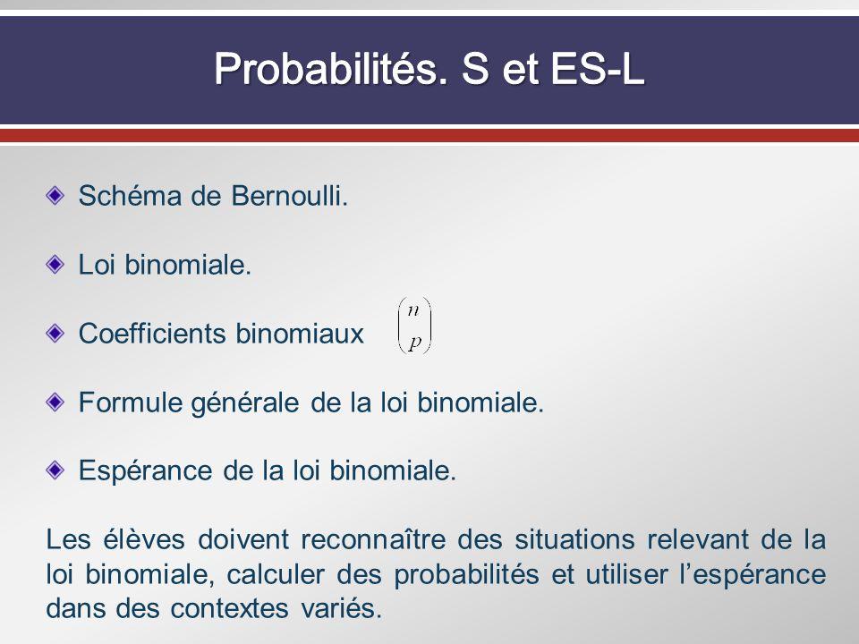 Schéma de Bernoulli. Loi binomiale. Coefficients binomiaux Formule générale de la loi binomiale. Espérance de la loi binomiale. Les élèves doivent rec
