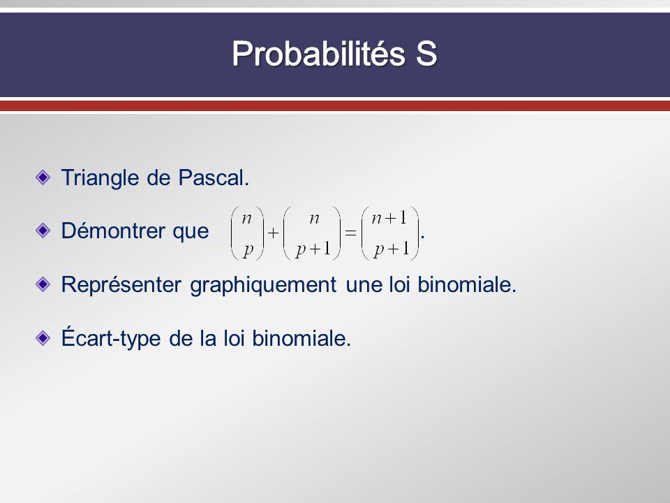 Triangle de Pascal. Démontrer que. Représenter graphiquement une loi binomiale. Écart-type de la loi binomiale.