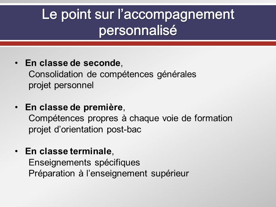 En classe de seconde, Consolidation de compétences générales projet personnel En classe de première, Compétences propres à chaque voie de formation pr