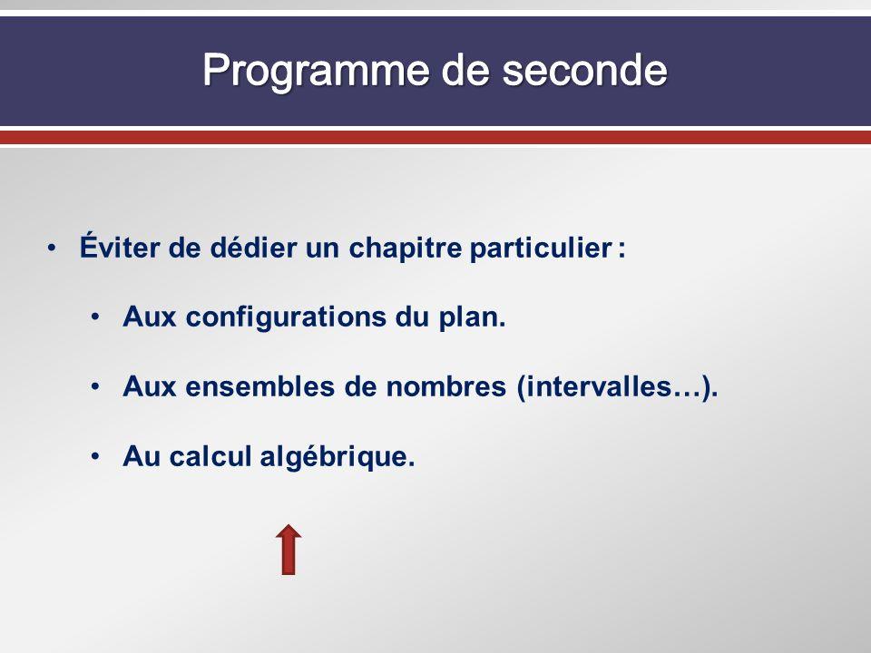 Éviter de dédier un chapitre particulier : Aux configurations du plan. Aux ensembles de nombres (intervalles…). Au calcul algébrique.