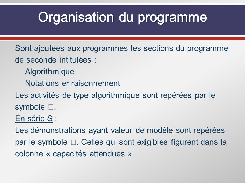 Sont ajoutées aux programmes les sections du programme de seconde intitulées : Algorithmique Notations er raisonnement Les activités de type algorithm