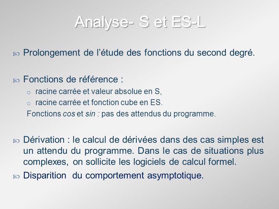 En série S : Il ny a plus de définition formelle de la notion de limite (approche intuitive) ni dopérations ou de comparaison sur les limites.