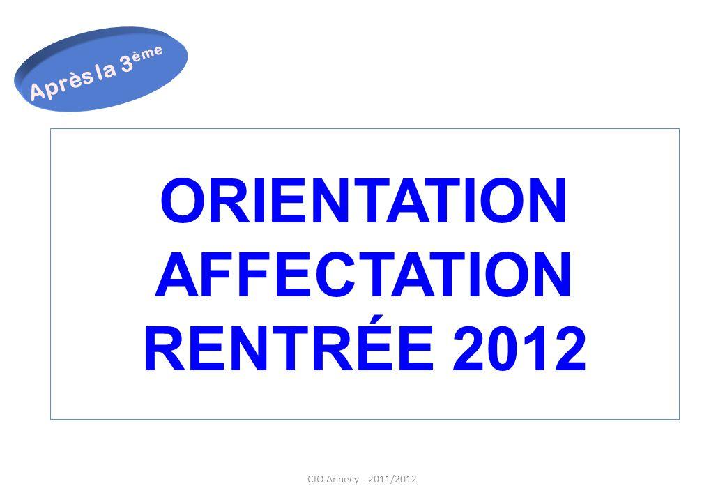 CIO Annecy - 2011/2012 ORIENTATION AFFECTATION RENTRÉE 2012 Après la 3 ème